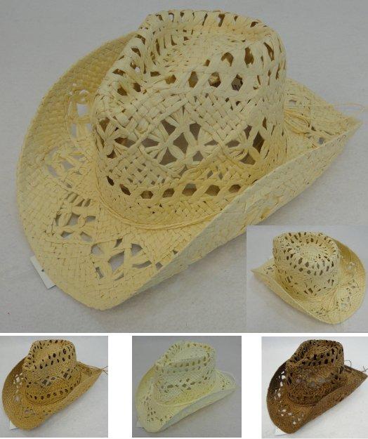 ... Paper Straw Cowboy Hat  Large Open Weave . HT1501 f035b6c6cd2